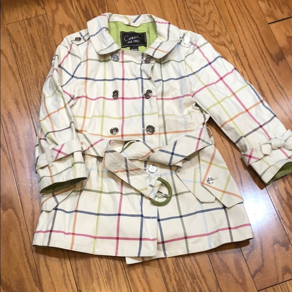 Coach Jackets & Blazers - Coach Plaid raincoat with patent leather buckle